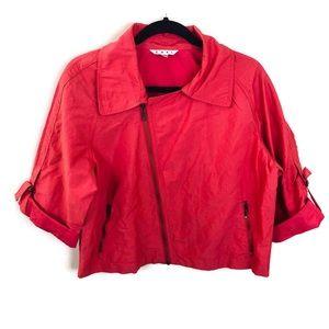 Cabi Pink Asymmetrical Zip Up Crop Jacket Sz L